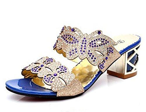 Minetom Donne Moda Elegante Estate Pantofole Finto Strass Fiore Farfalla Sandali Peep Toe Pantofol Blu B 39