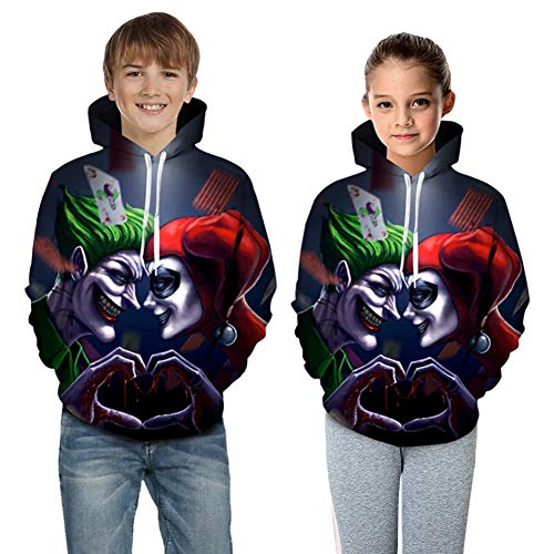 Halloween Kid Boy Herren The Dark Knight Batman Clown Hoodie lose 3D Horror Clown Man Jumper mit Kapuze Kordelzug Paar Hoodies beiläufige Baseball-Bekleidung,2XS/90cm