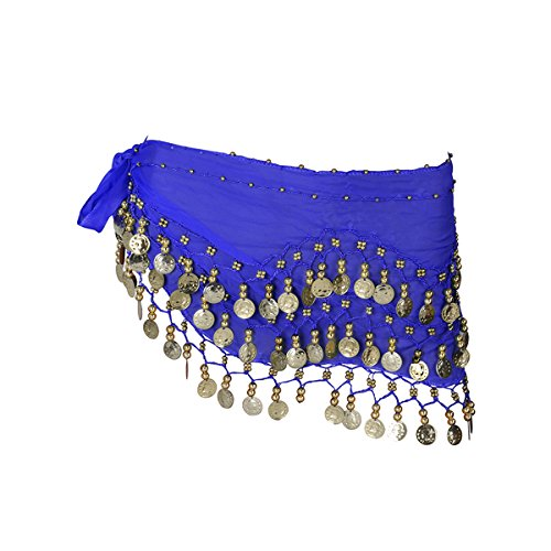LUOEM Damen Bauchtanz Gürtel, Chiffon Hüfttuch, Tanztuch mit Münzen für Bauchtanz (Blau) - Bauchtanz Hüfttuch Chiffon