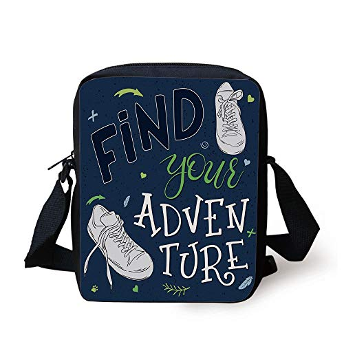 Adventure,Youthful Design Find Your Adventure Quote Forest Elements and Sneakers Decorative,Dark Blue Black Green Print Kids Crossbody Messenger Bag Purse Black Velvet Sneakers