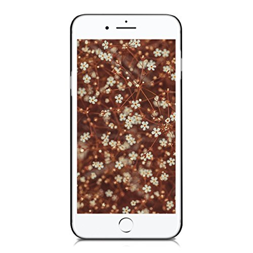 kwmobile Hülle für Apple iPhone 7 Plus / 8 Plus - Case Handy Schutzhülle Walnussholz auf Kunststoff - Hardcase Cover Dunkelbraun Halbblume Dunkelbraun