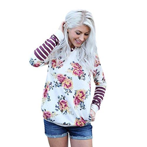 Leey Damen Pullover Streifen Blumen Casual Mädchen Kapuzenpullover Hoodie Sweatshirt Hoodies Elegant Kleidung Pullis Sweatshirt Winterpullover Hip Hop Coole Klamotten (M, Damen) (Coole Kleidung)