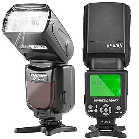 K&F Concept® KF-570 II Universal Blitz Blitzgerät Speedlite Blitzlicht für Canon Nikon Fuji Panasonic Olympus Sigma Leica GN 54 mit (Blitzlicht Canon)