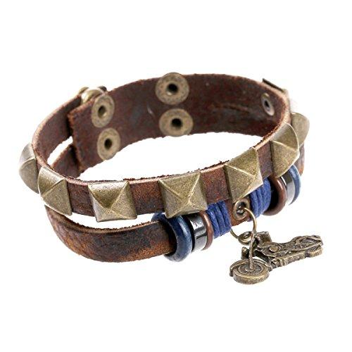 LZHMCircle Leder-Armband-Armband Für Unisex Personalisierte Echtleder Armbänder Niet-Ketten Wulstige Motorradanhänger