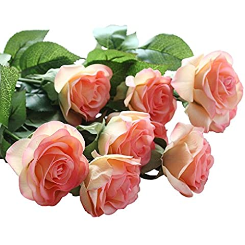 10 Pcs Artificial Real Touch Silk Rose Flower Bouquets for Vase Wedding Home or Birthday Garden Decorations(Champagne)