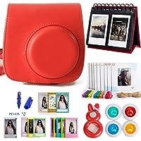Woodmin 10-in-1 Accessori Bundle per Fujifilm Instax Mini 8 Camera rosso(Mini 8 caso / album / Frames / Film Adesivi / filtri / Mark penna / Selfie-Lens)