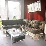 MSS® Palettenkissen 7er Set Palettenpolster Extra Dick Sitzkissen + Rückenkissen + Seitenkissen Euro Palettenauflage Gartenlounge in Braun Struktur