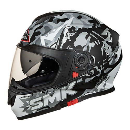 SMK MA266 Twister Attack Graphics Pinlock Fitted Full Face Helmet with Clear Visor (Matt Black with Grey, L)
