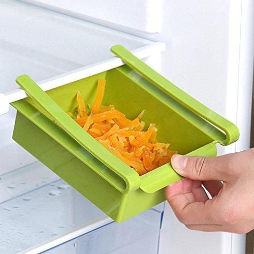 Wokee Kühlschrank Aufbewahrung, Kühlschrank Lagerung Organizer, Kühlschrank Regal Storage Rack Aufbewahrungsbox Lebensmittelbehälter Küche Werkzeuge Fruit Küche sammeln Box (1 Stück, zufällige Farbe) (Grün) (Werkzeug-organizer Storage Box)