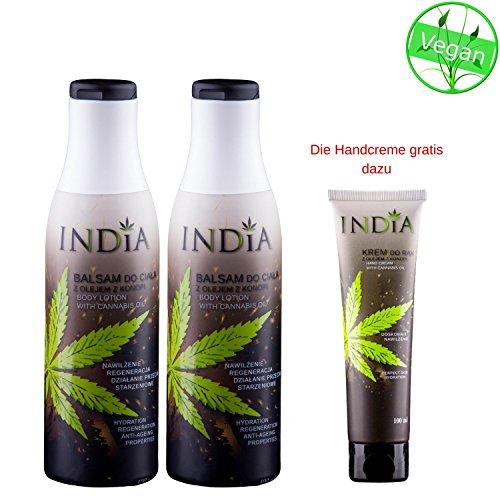 Bodylotion im Doppelpack mit Cannabis Öl Premiumqualität in 2 x 400ml XXL Größe plus India Handcreme gratis mit dazu, im Gesamtwert von 43 Euro!