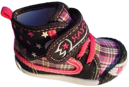 Gibra® Sapatos Casuais Para Bebês E Crianças, Quadriculada Com Velcro, Preto / Rosa, Gr. 19-24