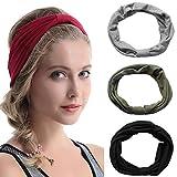 Aibrou Damen 4Pcs Elastische Blume Gedruckte/ Einfarbige Stirnbänder