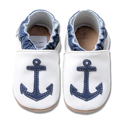HOBEA-Germany Baby Krabbelschuhe Jungen, Kinderhausschuhe Jungen, Lederschuhe, Schuhgröße:18/19 (6-12 Monate), Modell Schuhe:Blauer Anker auf weiß