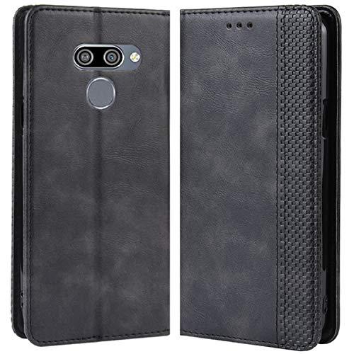 HualuBro Handyhülle für LG Q60 Hülle, Retro Leder Brieftasche Tasche Schutzhülle Handytasche LederHülle Flip Case Cover für LG Q60 2019 - Schwarz