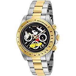 Invicta 25194 Disney Limited Edition Mickey Mouse Reloj Unisex acero inoxidable Cuarzo Esfera negro