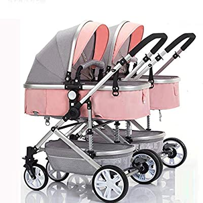 Double Stroller,Folding Shockproof Lightweight Toddler Strollers,Infant Portable Cart,Can Sit Half Lying 0-3 Years Old(Maximum Loadable 50Kg Baby)