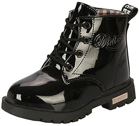 PPXID Garçon Fille Bébé Waterproof Durable Boots,Chaussures à Lacets-noir 28