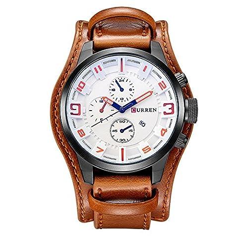 XLORDX Curren Herren Armbanduhr Chronograph Datum Blau Glas Leder Braun Quarz Analog Sportuhr Weiß (Sportuhr Herren Blau)