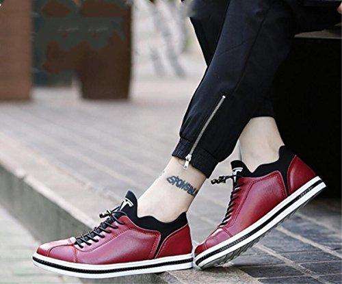 I nuovi pattini di cuoio casuali degli uomini calza i pattini britannici Size 44, il nero rosso , red , 44 Red