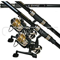 3 X LINEAEFFE 12FT CARP RODS 2.75LB TEST CURVE + FREESPOOL/ BAITRUNNER REELS WITH LINE