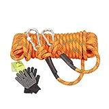 Kletterseil, 10M-100M 11mm Outdoor Klettern Survival Flucht Seil hochfeste Schnur Sicherheit Seil mit Handschuhen, Aufbewahrungstasche und Karabiner ( Farbe : Orange , Größe : Diameter 11 mm/20M )