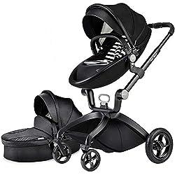 Poussette combinée 3 en 1 avec poussette et nacelle 2020 nouvelle Poussette rotative paysage attaches en cuir PU suspension roues en PU siège bébé supplémentaire achetable PU Cuir-Noir