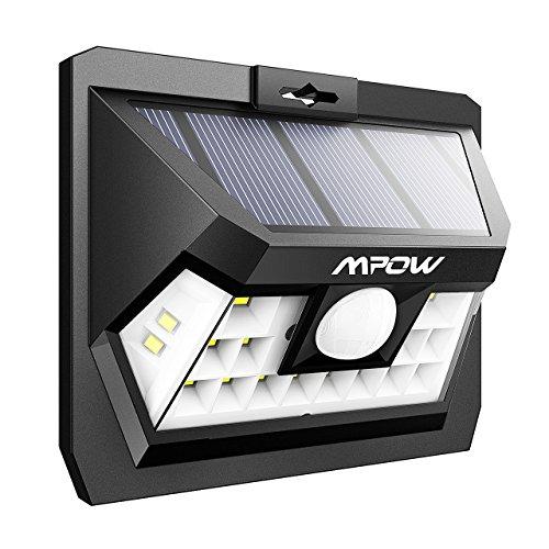 Mpow 18 LED Sensor de Movimiento Luz Solar, Luz de Pared Brillante, Panel Solar de Alta Eficiencia, Ángulo de Detección de 120 °, Resistente a la Intemperie, Gran Luz Exterior para Jardín, Calzada, Cercado, Garaje, Camino y Patio