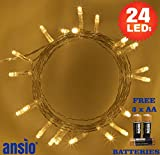 Fairy lights 24-LED Warm White Christmas Battery Operated String Lights with 2.4m Clear Cable Perfect for Festive, Wedding/Birthday Party & Christmas Tree Decorations 3 x ANSIO® AA Batteries Included
