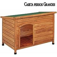 CASETA de MADERA techo plano para PERROS GRANDES. Medidas ext. 116x82x76 cm, int. 104x64x70 cm. Gran durabilidad y resistencia. Fabricada en España.