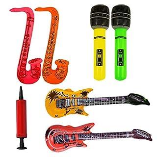 Discra 6PCS Inflatable Musical Instruments Set Guitars Saxophone Microphones with manual pump Inflatable Music Party Props with Balloon Pump for Party Decoration Prop Random Color