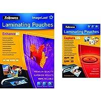 Fellowes - Pack de 200 fundas para plastificar, formato A4 + 65x95 mm