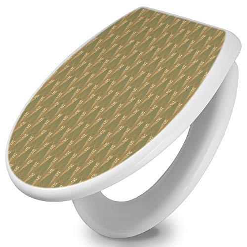 banjado Toilettendeckel mit Absenkautomatik | WC Sitz 42cm x 4cm x 37cm | Klodeckel weiß | Klobrille mit Edelstahl Scharnieren | Toilettensitz mit Motiv Art Deco Blatt