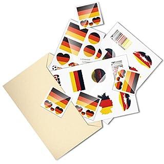 SET 10X, Sameants Temporäre Tattoos Fußball Tätowierung Sticker Deutschland Flagge Herz Aufkleber Blätter für Fußballfans Sportspiel