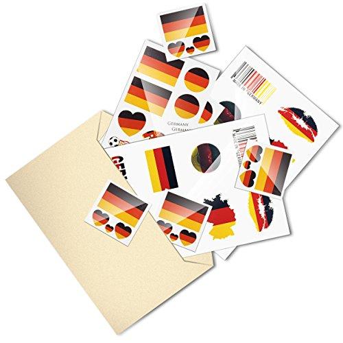 poräre Tattoos Fußball Tätowierung Sticker Deutschland Flagge Herz Aufkleber Blätter ()
