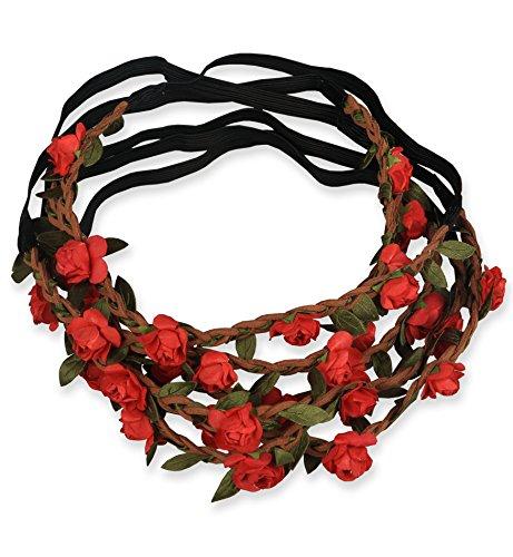 Sumolux Donne 12 pz Boho Stile Fiori Fascia del Fiore per le Ragazze / Fasce di Nozze Neonate Festival del Partito Rosso