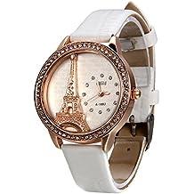 Avaner Blanco Reloj para Mujer La Torre Eiffel Con Diamantes Reloj de Pulsera para Chica, Diseño Vintage Romantico Regalo Para Navidad San Valentín