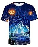 AMOMA Herren Damen Unisex Halloween Kürbis Grusel Trick T-Shirt Freizeit Kostüm Kurzärmliges Tops Tees(XXS,Color07)