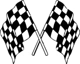 Akachafactory Autocollant Sticker Laptop Voiture Moto Double Drapeau Damier Course