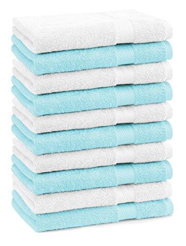 BETZ Lot de 10 serviettes débarbouillettes lavettes taille 30x30 cm en 100% coton Premium couleur blanc et turquoise
