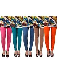 Anekaant Pack Of 5 Cotton Lycra Free Size Women's Legging -Pink, Light Green, grey, Brown, Orange