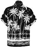 LA LEELA | Funky Camicia Hawaiana da Uomo | XS - 7XL | Maniche Corte | Tasca Frontale | Stampa Hawaiana | Estivo Estate Spiaggia Palme Nero_W452 XL - Torace (in CMS) : 121-132