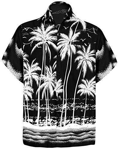 LA LEELA männer Hawaiihemd Kurzarm Button Down Kragen Fronttasche Beach Strand Hemd Manner Urlaub Casual Herren Aloha schwarz_255 2XL Likre A_116 - Herren Winter 5x Mantel