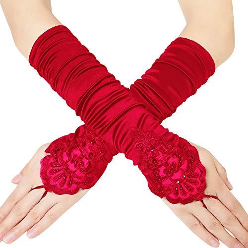 Coucoland Damen Kurze Satin 1920s Handschuhe Dekoriert mit Spitzen und Strass Gotische Halbhandschuhe für Opera Fest Retro Hochzeit Damen Fasching Kostüm Accessoires (38 cm/Rot) - Strass Damen Handschuh