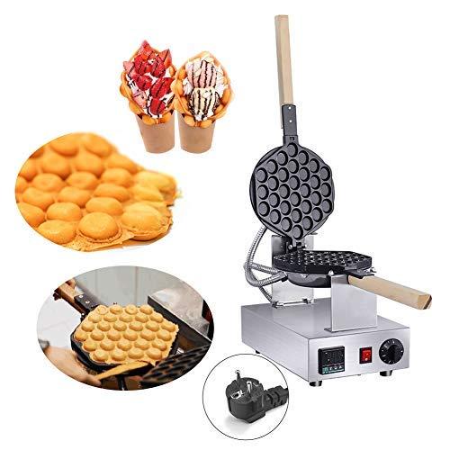 IDABAY Gofrera, Bubble Waffle Maker, Máquina de Gofre Eléctrica con Forma de Huevo, Acero Inoxidable Antiadherente Temperatura Ajustable,1400W