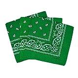 Lot de 3 bandanas paisley vert foncé - Foulard coton motif cachemire vendu par 3 - taille unique