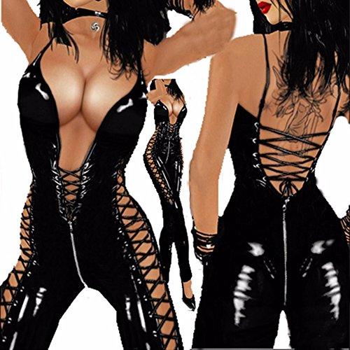 Gsaknc Einteiliges Ärmelloses Halfter Der Frauen PVC-Spandex Glänzendes Catsuit Clubwear Kostüm Nasse Blicknachtcocktailparty Cosplay Punk-fester Bodysuit (Halfter Schiere Kostüm)