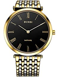 BUREI Unisex Dress Watches with Ultra Thin Black Dial Roman Numerals Hands Sapphire Crystal and Gold Stainless Steel Band