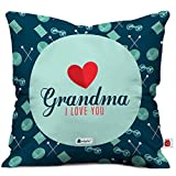 Indigifts Grandparents Special Grandma I Love You Blue Cushion Cover 12x12 inch with Filler - Gift for Grandmother-Grandma-Dadi-Birthday-Anniversary