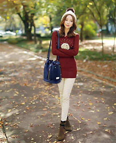 Wewod 3 Teiliges Damen Handtaschenset Mode Tasche Bucket + Crossbody Tasche+clutch portemonnaie Blau