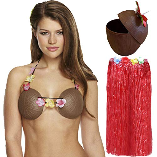 Labreeze Damen Hula Grass Rock Kokosnuss-BH Cup Hawaiian Strand Sommer Party Set